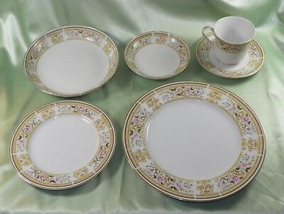 Made In Japan Wallace Heritage Daphne-Pattern Fine Porcelain China Place Setting