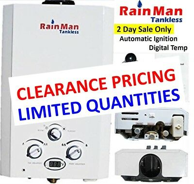 Rain Man L10 Tankless Water Heater LP Liquid Propane 3.2 GPM Digital Temperature