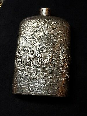 Antique Silver Canteen Liquor Flask DERBY S. P. CO. EDWM  #42 International S CO