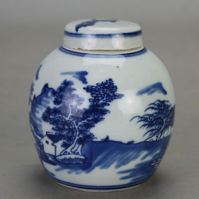 Chinese old hand-carved porcelain Blue and white landscape pattern tea caddy H