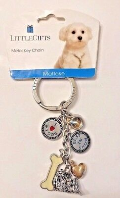 NWT Little Gifts MALTESE KEYCHAIN - Great Gift for Dog Lover