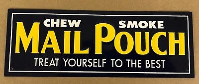 nos NEAR MINT 1950s Vintage MAIL POUCH TOBACCO Old Country Store Emboss Tin Sign
