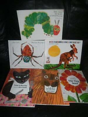 Lot 6 Eric Carle Books Kangaroo Busy Spider Hungry Caterpillar Zoo Tiny Seed GUC