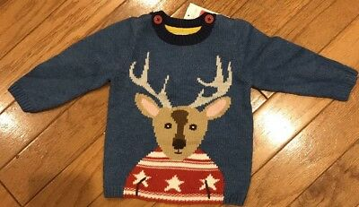 NWT Mini Baby Boden Reindeer Christmas Sweater Size 6-12 Months