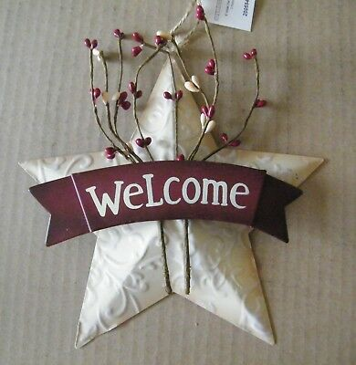 """8"""" Primitive Country White WELCOME Metal Barn STAR Tin Wall Art Decor Sign"""