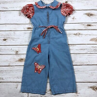 Vintage 70s Merry Mites Blue Butterfly Gingham One-Piece Romper Toddler Girl 2T
