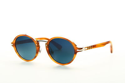 New Persol PO3129S 960/S3 Striped Light Brown Frame Blue Shaded POLARIZED Lens