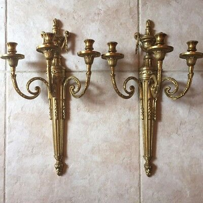 Pair of Vintage Antique Brass French Empire Three Tier Wall Sconces