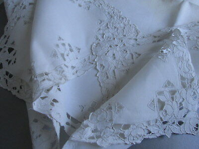 "CUTWORK LACE BANQUET RUNNER 30""x62"" Vintage White Linen Tablecloth Handmade"