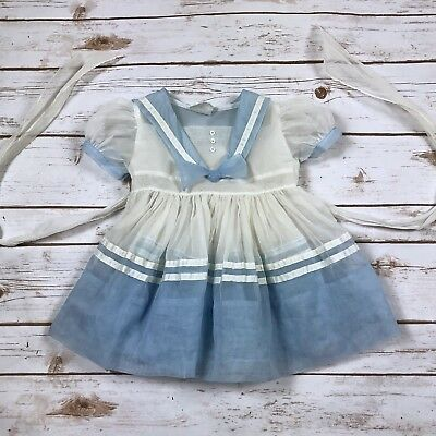 Vintage 1950s Sheer Organdy Sailor Dress Blue White Baby Girl by Mitzi Size 1