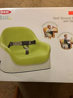 OXO Tot Nest Booster Seat with Straps, Green EUC Child Kids Toddler