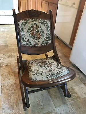 Antique Victorian Wood Folding Rocking Chair With Beautiful Tapestry