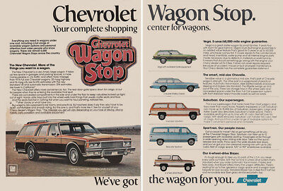 1977 Chevrolet: Wagon Stop, Complete Shopping Center Vintage Print Ad
