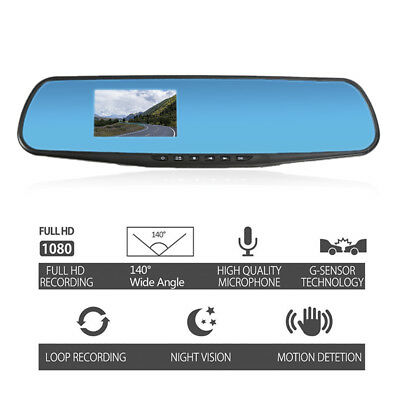 3''HD 1080P In-Car Rearview Mirror DVR Dash Cam Video Recorder Night Vision 140°