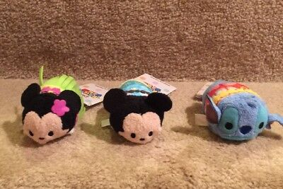 NWT Set of 3 Aulani Disney Hawaii Exclusive Stitch Minnie & Mickey Tsum Tsums