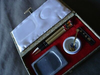 Vintage Asian Calligraphy Brush Ink and Mixing Set in Silk-Lined Box LOOK!