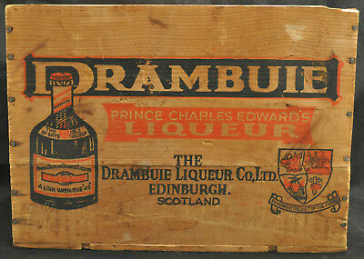 VTG Wood Drambuie Shipping Crate Advertising Industrial Storage Box
