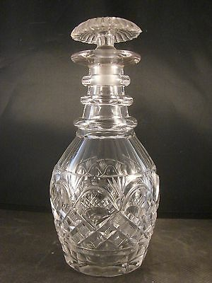 19th C Blown 3 Ring Decanter Panel And Diamond Cut With Mushroom Stopper
