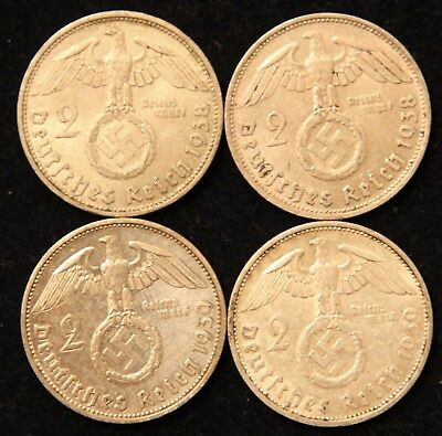 Four Coin WWII Germany Two Reichsmark Silver coins 1938-D & 1939-F Circ