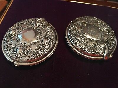 Two Matching Vintage Silver Plated Mirror Compacts