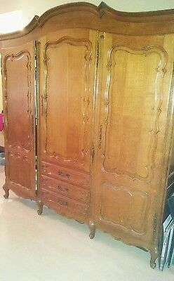 Antique French Country Wardrobe Armoire 3 door Shelves  rod Shipping Available