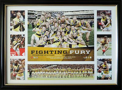 2017 AFL Premiers Richmond Fighting Fury Deluxe Tribute Official AFL Print Frame
