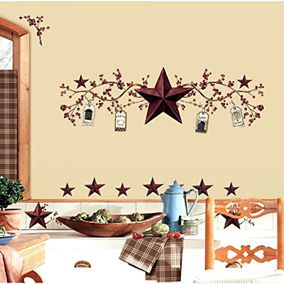 Wall Decals Country Stars and Berries RoomMates 40 Pieces Peel Stick RMK1276SCS