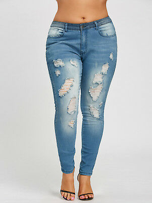 Lady Sexy Women Plus Size Jeans Pants Trousers Slim Fitted Ripped Skinny Pencil