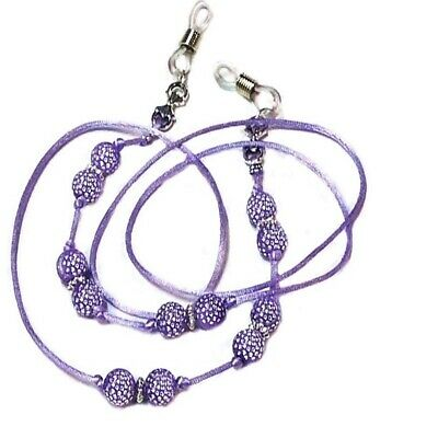 Purple Beaded Cord Sparkly Reading Eye glasses spectacle chain holder lanyard