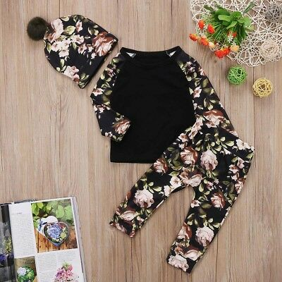 Newborn Baby Girls Floral Clothes Tops T Shirts Long Pants Pom Pom Hat Outfits B