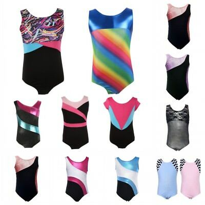 Kids Girls Shinny Leotard Child Gymnastics Unitard Sportswear Skating Bodysuits