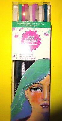 "5 ""SHIMMERING MERMAID MARKERS"" By Jane Davenport SHIMMERING SKY pink,bl,pur,teal"