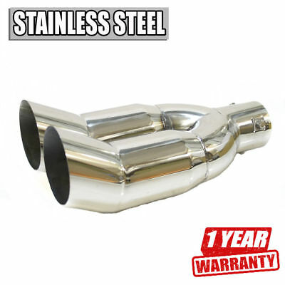 New Sport Twin Double Car Exhaust Tip Muffler Trim Pipe Chrome Stainless Steel