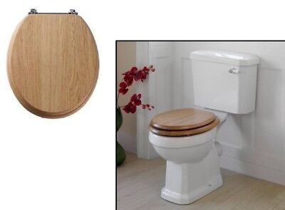 """Toilet Seat Easy FIt MDF Wood Effect Universal Seat Bathroom Accessory 18"""" Inch"""