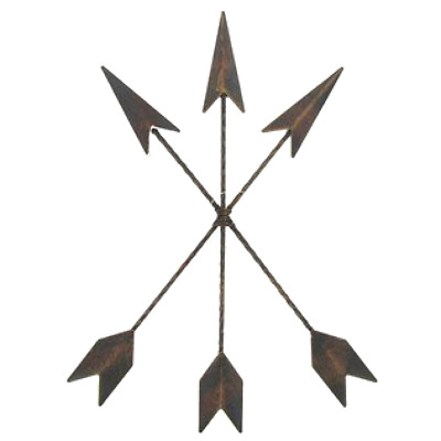 Wall Decorative Cast Iron Native American 3 Rusty Arrows Size 15 x 11.25 Inches