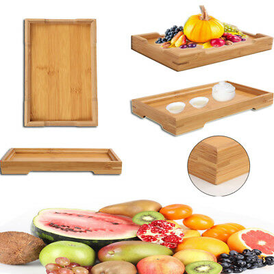 Natural Wood Serving Tray Tea Food Server Dishes Rectangle Bamboo Wooden Plate