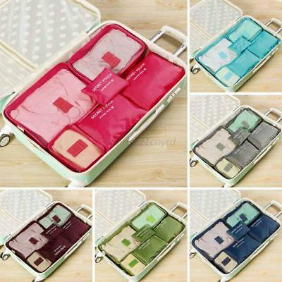 6Pcs Packing Cube Travel Storage Bags Luggage Organiser Suitcase Pouch Organizer