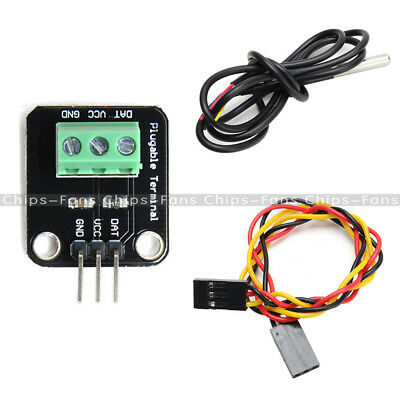 DS18B20 WaterProof Temperature Sensor Module Probe+Terminal Adapter For Arduino