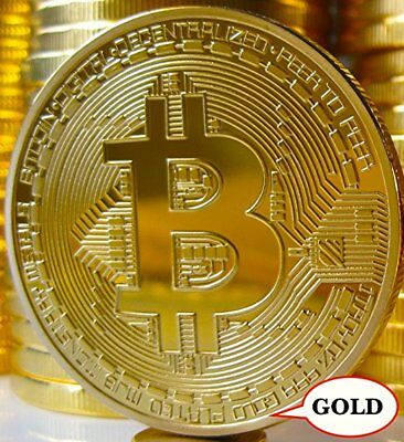 BITCOIN Gold Plated Physical Bitcoin in protective acrylic case FAST SHIPPING DS