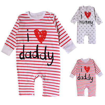Baby Boys Girls I Love Mommy Daddy Romper Hat Bodysuit Outfit Clothing Set AU