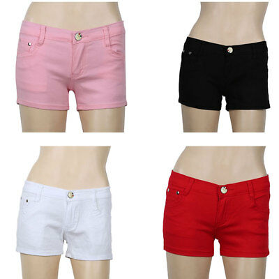 Summer Womens Denim Mini Shorts Low Waisted Tight Fit Hot Pants Stretchy Jeans