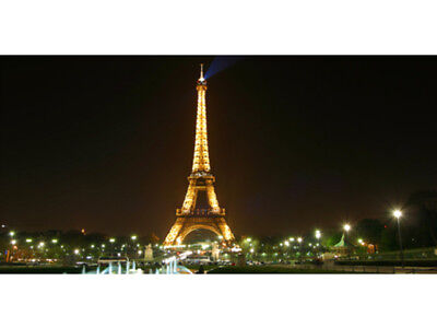 50cm by 25cm Paris Eiffel Tower At Night France View Visit Banner Sign