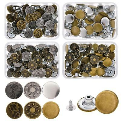 40 Sets Jeans Button Denim Clothes Tack Buttons Metal Replacement Craft Kit New