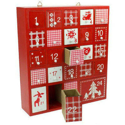 Wooden Christmas Advent Calendar Red & White Chest Box With Drawers Chic Shabby