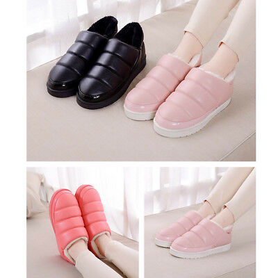 1 Pair Women PU Leather Warm Winter Snow Boot Flats Shoes Waterproof Ankle Boot