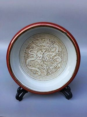 8.3inches Chinese White porcelain *carvedTwo dragon play pearls* brush washer XS