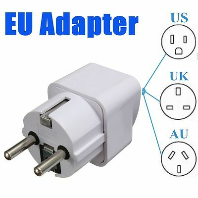 Portable UK/US/AU to EU European 2PIN Power Socket Plug Adapter Travel Converter