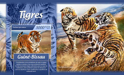 Guinea-Bissau 2017 MNH Tigers Tiger 1v S/S Big Cats Wild Animals Stamps