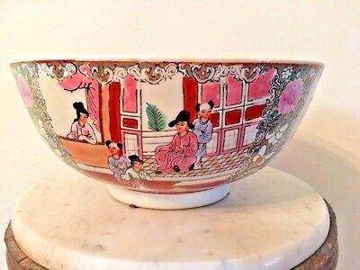 "Chinese Porcelain Bowl Hand Painted 10"" Decorative Bowl, Vintage"