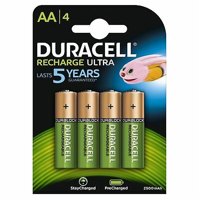4 x Duracell AA 2500 mAh Duralock PRE / STAY CHARGED Rechargeable Batteries NiMH